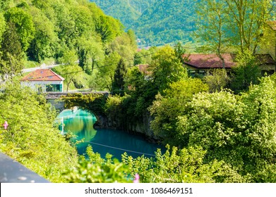 Most na Soci, Slovenia - April 28, 2018: Beautiful nature in small village Most na Soci, Slovenia EU