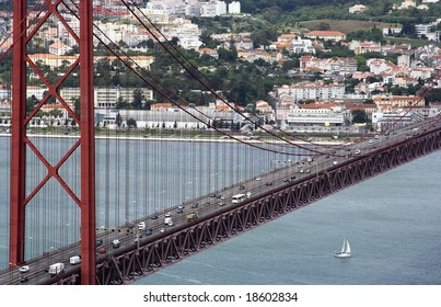 Most a name on April, 25 through the river Tagus in Lisbon, Portugal