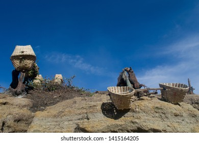 Most people whose living around Mount Ijen are working as sulfur miner. They use traditional basket made from bamboo mat to bring the sulfur stone.