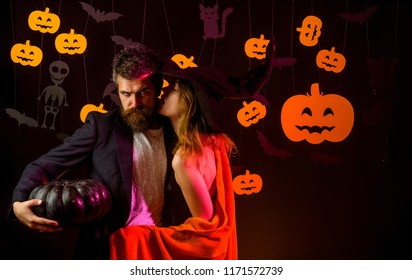 The Most Popular Candy for Halloween. Happy loving couple. Happy halloween shirt. Secrets of Magic for Happy Halloween. Sexy couple. Couple in love. Nude couple