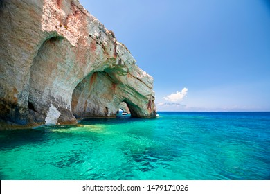 "The most popular caves in Greece: ""Blue caves"" surrounded by beautiful turquoise water on the famous island of Zakynthos.Greece."