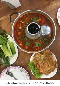 The most popular food in thailand, tomyam with fresh vegetables