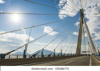 Most Rio-Andirio them. Charilaos Trikoupis - cable-stayed bridge in Greece, over the strait Rio-Andirio, between the Gulf of Patras on the west side and the Gulf of Corinth on the side of the east