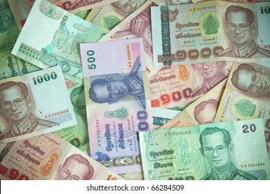 most type of Thai baht note display as background
