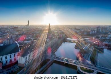 Most Uniwersytecki, Uniwersytet Wroclawski, Sky Tower widok z powietrza zachod slonca, Wroclaw from the sky - Shutterstock ID 1062172271