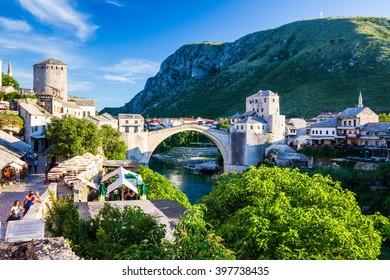 Mostar Bosnia - 29 May 2015: View of Stari Bridge in Mostar old town