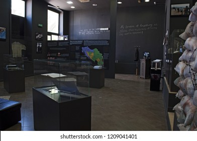 Mostar, Bosnia, 5/07/2018: the Museum of War and Genocide Victims 1992-1995, testimony of the Bosnian War where it's allowed to take pictures