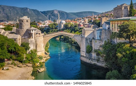 MOSTAR, BOSNIA HERCEGOVINA: Aerial view on the medieval bridge of Mostar on 11 August, 2019.