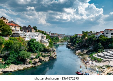 Mostar / Bosnia & Hercegovina - Aug 17, 2017: The shot was taken from the Mostar Bridge the view is south from the old Bridge