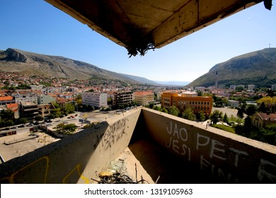Mostar, Bosnia i Hercegovina in September 2017 - View from abandoned Snipertower in Mostar. Positioning of the Sniper in the Bosnian War