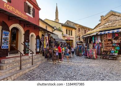 Mostar, Bosnia & Hercegovinha - May 12 2018: Old Town in Mostar