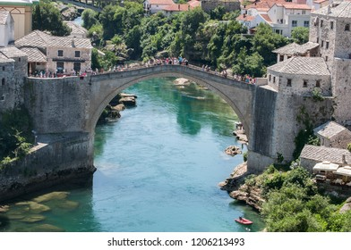 Mostar, Bosnia and Herzegovina, 06/07/2018: view of the Stari Most, the 16th century Ottoman bridge destroyed in 1993 by Croat military forces in the Croat-Bosnian War, rebuilt in 2004