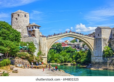 MOSTAR, BOSNIA AND HERZEGOVINA - AUGUST 12, 2017: Mostar bridge view in Bosnia and Herzegovina