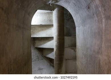 MOSTAR, BOSNIA AND HERZEGOVINA - AUGUST 17 2017: Ancient spiral stone staircase inside Koski mehmet pasha mosque in Mostar, Bsnia Herzegovina