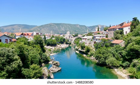 MOSTAR, BOSNIA AND HERZEGOVINA - JULY 11, 2019: Fifth-largest city in the country, Mostar was named after the bridge keepers (mostari) who in the medieval times guarded the Old Bridge over Neretva.