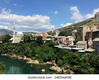 Mostar / Bosnia and Herzegovina - July 19, 2016: The Koski Mehmed Pasha Mosque in Mostar represents another extraordinary piece of Ottoman architecture in Bosnia and Herzegovina.