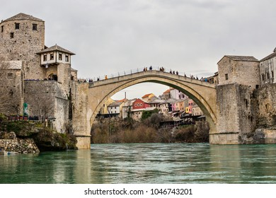 MOSTAR, BOSNIA AND HERZEGOVINA - March 2018: Beautiful view of Old Bridge and historical town Mostar, Unesco World Heritage Site, Mostar, Bosnia and Herzegovina