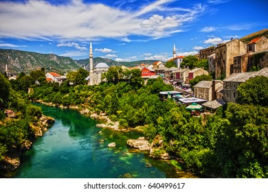 MOSTAR, BOSNIA AND HERZEGOVINA - MAY 13, 2017: Mostar old town, Bosnia and Herzegovina