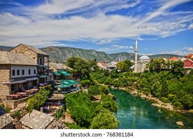 MOSTAR, Bosnia and Herzegovina - NOV 27, 2017: Mostar town houses view, Bosnia and Herzegovina