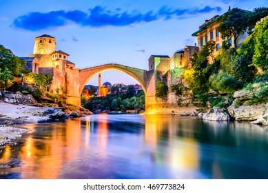 Mostar, Bosnia and Herzegovina. The Old Bridge, Stari Most, with emerald river Neretva.