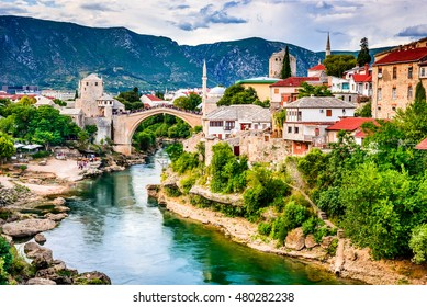Mostar, Bosnia and Herzegovina. The Old Bridge, Stari Most, with emerald river Neretva.