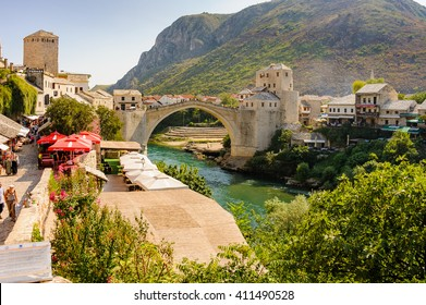 MOSTAR, BOSNIA AND HERZEGOVINA - SEPTEMBER 1, 2009: The new Stari Most (Old Bridge), Tara, Hercegusa and Halebija towers