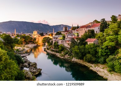 Mostar, Bosnia and Herzegovina - September 11, 2018: Sightseeing in Bosnia and Herzegovina. The Old Bridge, Stari Most, with emerald river Neretva in Mostar old town, night view