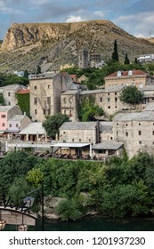 Mostar, Bosnia, July 28, 2018: The town of Mostar is one of Bosnia & Herzegovina's most popular tourist destinations.