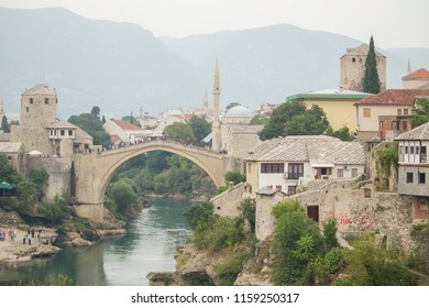 Mostar, Bosnia - September 5th 2016 : Stari Most is a rebuilt 16th-century Ottoman bridge in the city of Mostar in Bosnia and Herzegovina that crosses the river Neretva.