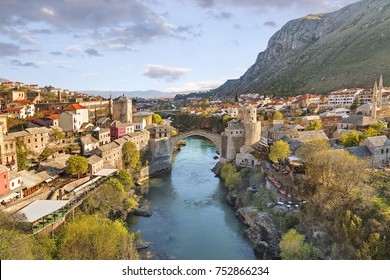 Mostar bridge in the town of Mostar in Bosnia and Herzegovina.