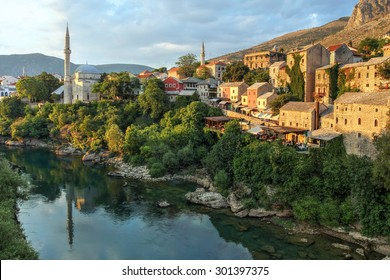 Mostar city in Bosnia and Herzegovina seen from the famous bridge.