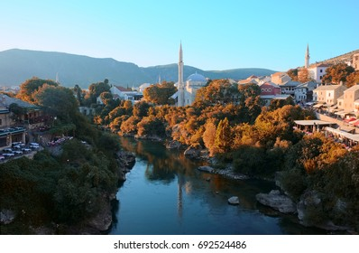 mostar city view, medieval, mosques, river, autumn colors