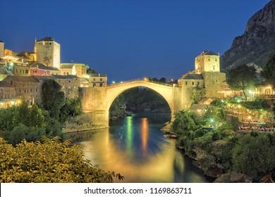 Mostar Old Bridge at twilight, Bosnia And Herzegovina