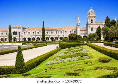 Mosteiro dos Jeronimos (Hieronymites Monastery), located in the Belem district of Lisbon, Portugal. Typical example of the Manueline style (Portuguese late-Gothic). UNESCO World Heritage Site