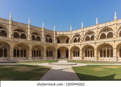 Mosteiro dos Jeronimos / Lisbon (Lisboa) / Portugal - 08-03-2018: cloister of the Hieronymites Monastery.  It is a UNESCO World Heritage Site.