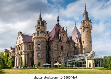 MOSZNA, POLAND - July 16, 2019: The Moszna Castle in southwestern Poland, one of the most magnificent castles in the world from 17th century.