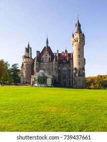 MOSZNA, POLAND - OCTOBER 14, 2017 : View on 17th century Moszna Castle on a sunny day.It is a historic castle and residence , one of the best known monuments Upper Silesia.