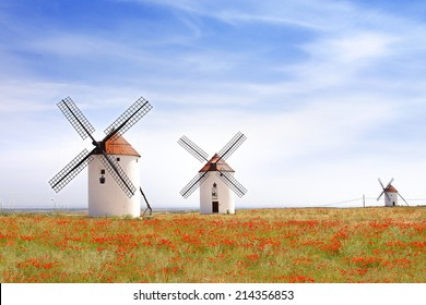 MOTA DEL CUERVO, SPAIN - JUNE 10, 2014: Windmills. Touristic Don Quixote route that goes through 148 towns and was distinguished in 2007 as a European Cultural Route.