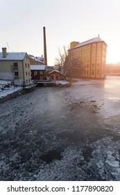 Motala stream in winterland, Norrkoping Sweden