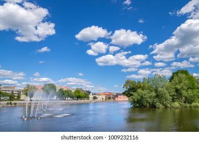 Motala strom river in Norrkoping. Ostergotland, Sweden, Scandinavia, Europe