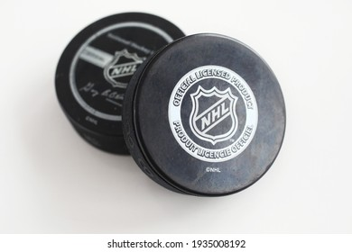 MOTALA, SWEDEN- 10 MARCH 2021: Officiel licensed hockey puck for NHL, National hockey league. Photo Jeppe Gustafsson