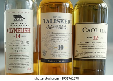 MOTALA, SWEDEN- 2 MARCH 2021: Classic malts selection whisky in a box. Clynelish, Talisker and Caol Ila whisky bottles. Photo Jeppe Gustafsson