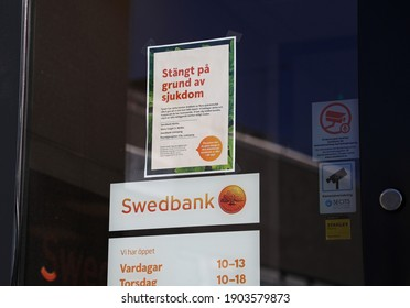 MOTALA, SWEDEN- 3 APRIL 2020: A bank office that had to close due to illness in connection with the corona virus's progress.  Photo Jeppe Gustafsson