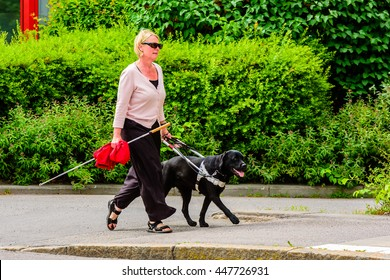 Motala, Sweden - June 21, 2016: Blind or visually impaired woman out for a walk helped by her guide dog. White cane in one hand while holding the dog with the other.  Real life situation.