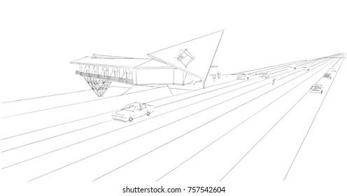 motel building sketch 3d illustration