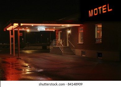 Motel entrance at night