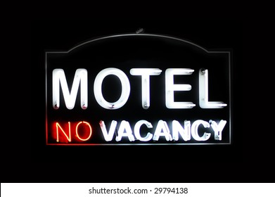 Motel no vacancy neon sign