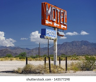 Motel sign. Photo taken along Route 66 in Arizona, USA.