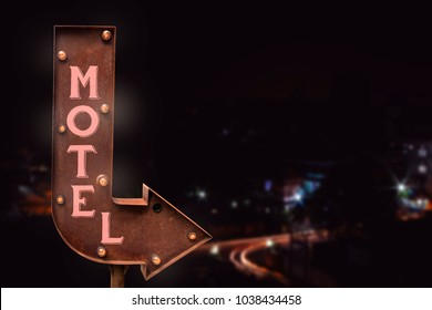 Motel signboard, on the road. Retro style