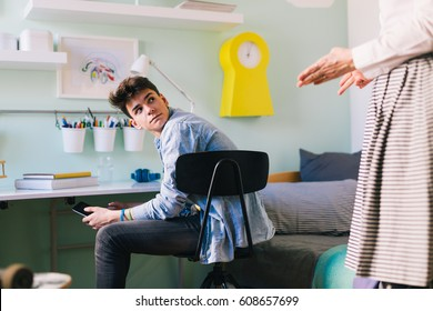 Mother argue with her teenage son